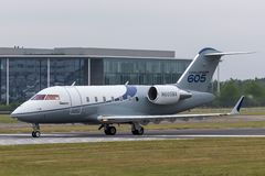 Bombardier Challenger 605 CL-600-2B16 business jet aircraft N605BA. Farnborough, UK - July 20, 2014: Bombardier Challenger 605 CL-600-2B16 business jet aircraft stock images