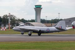 Former Royal Air Force English Electric Canberra PR.9 photographic reconnaissance aircraft G-OMHD operated by Midair Squadron. Farnborough, UK - July 21, 2014 stock images