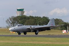Former Royal Air Force English Electric Canberra PR.9 photographic reconnaissance aircraft G-OMHD operated by Midair Squadron. Farnborough, UK - July 20, 2014 stock photos