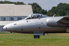 Former Royal Air Force English Electric Canberra PR.9 photographic reconnaissance aircraft G-OMHD operated by Midair Squadron. Farnborough, UK - July 20, 2014 royalty free stock images