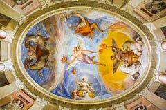 Farnese宫殿的壁画装饰卡普拉罗拉的,黎明讽喻  库存照片