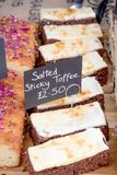 Goods for sale at Farnham Food Festival. Farnham, United Kingdom, 30th October 2017:-Baked treats for sale at Farnham International Food Festival Royalty Free Stock Photo