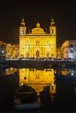 Farny kościół przy nocą Floriana. Malta Zdjęcia Royalty Free