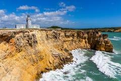 Faro Лос Morrillos, Cabo Rojo, местная достопримечательность Пуэрто-Рико стоковое фото