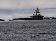 Faro ad ovest di Oswego Pierhead fotografie stock libere da diritti