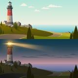 Faro adentro día y noche ilustración del vector