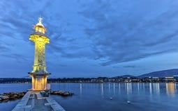 Faro al Paquis, Ginevra, Svizzera, HDR Immagine Stock Libera da Diritti