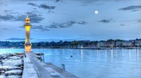 Faro al Paquis, Ginevra, Svizzera, HDR Fotografie Stock Libere da Diritti