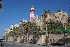 Faro al porto di Giaffa Fotografie Stock Libere da Diritti