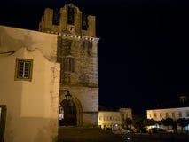 Faro, Algarve, Portugal domkyrka och fyrkant för historisk stad på natten royaltyfri bild