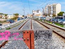 FARO, ALGARVE/PORTUGAL DU SUD - 7 MARS : Vue du chemin de fer Images stock