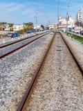 FARO, ALGARVE/PORTUGAL DU SUD - 7 MARS : Vue du chemin de fer Photographie stock libre de droits