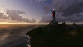 Faro alla notte fatta nel software 3d royalty illustrazione gratis
