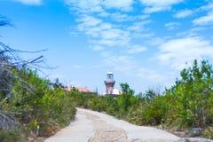 Faro alla spiaggia delle palme Fotografie Stock Libere da Diritti