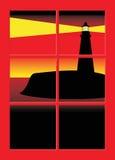 Faro attraverso la finestra Fotografie Stock Libere da Diritti