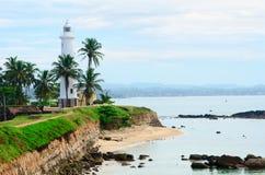 Faro bianco a Galle, Sri Lanka Fotografie Stock Libere da Diritti