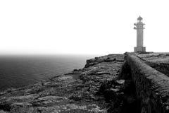 Faro blanco y negro del cabo de Barbaria Imágenes de archivo libres de regalías