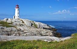 Faro bonito de la ensenada de Peggys, Nova Scotia Imagen de archivo