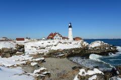 Faro capo di Portland, Maine Immagini Stock Libere da Diritti