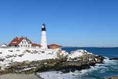 Faro capo di Portland, Maine Immagine Stock