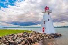 Faro cerca de la playa de Brighton en Charlottetown - Canadá imagen de archivo libre de regalías