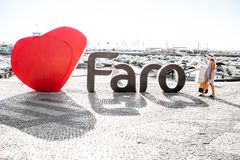 Faro city letters in Portugal Royalty Free Stock Photo