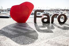 Faro city letters in Portugal Stock Photo
