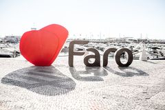 Faro city letters in Portugal Stock Photos