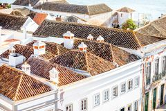Faro city in Portugal. Top cityscape view on the old town with beautiful rooftops in Faro on the south of Portugal stock photos