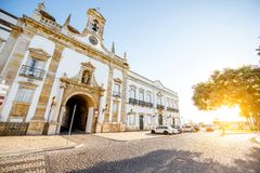 Faro city in Portugal. View on the Cidade arch in the old town of Faro on the south of Portugal stock photos