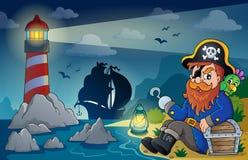 Faro con el tema 5 del pirata Fotografía de archivo