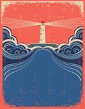 Faro con las ondas azules Foto de archivo libre de regalías