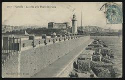 Faro d'annata della cartolina della Francia Fotografia Stock