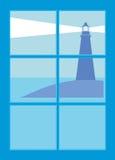 Faro dalla finestra Immagine Stock Libera da Diritti