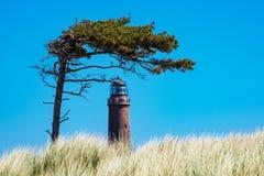 Faro Darsser Ort en la costa de mar Báltico Foto de archivo