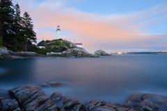 Faro de Atkinson del punto en la puesta del sol Fotografía de archivo libre de regalías