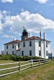 Faro de Beavertail en Jamestown, Rhode Island fotografía de archivo