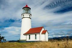 Faro de Blanco del cabo, Oregon Fotos de archivo
