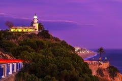 Faro de Calella en la costa mediterránea imagen de archivo