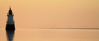 Faro de Cockersands en el estuario de Lune del río Imagen de archivo