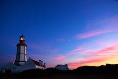 Faro de Espichel del cabo en la oscuridad Imagenes de archivo