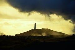 Faro de Islandia en la oscuridad Fotos de archivo libres de regalías
