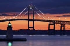 Faro de la isla de la cabra en la puesta del sol Imagen de archivo libre de regalías