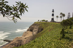 Faro de la Marina lighthouse in Miraflores in Lima. The iron lighthouse on the rugged coast of Miraflores in Lima royalty free stock photography