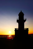 Faro de la puesta del sol Fotos de archivo libres de regalías