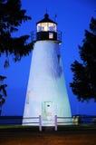 Faro de la punta de la concordia en la puesta del sol Imágenes de archivo libres de regalías