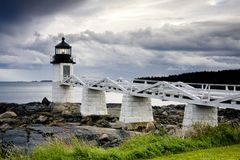 Faro de la punta de Marshall, Maine, los E.E.U.U. foto de archivo