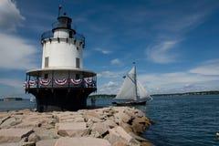 Faro de la punta del resorte en Maine Imagen de archivo libre de regalías
