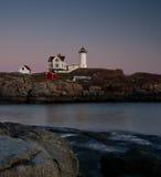 Faro de Maine en la puesta del sol Fotografía de archivo