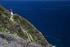 Faro de Makapuu en la isla de Ohau en Hawaii Foto de archivo